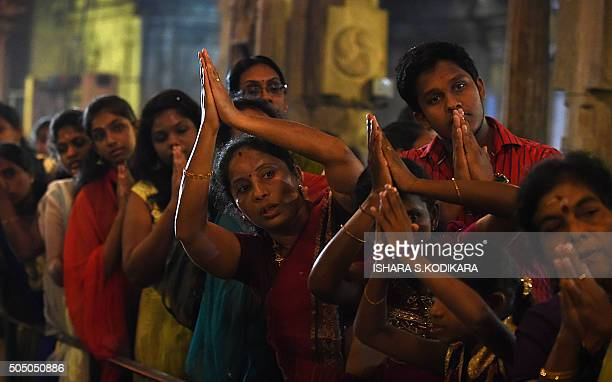 Sri Lankan devotees offer prayers at a Hindu temple in Colombo on January 15 2016 Hindus in Sri Lanka are celebrating the Thai Pongal festival which...