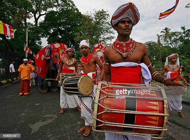 Sri Lankan drumers and elephant