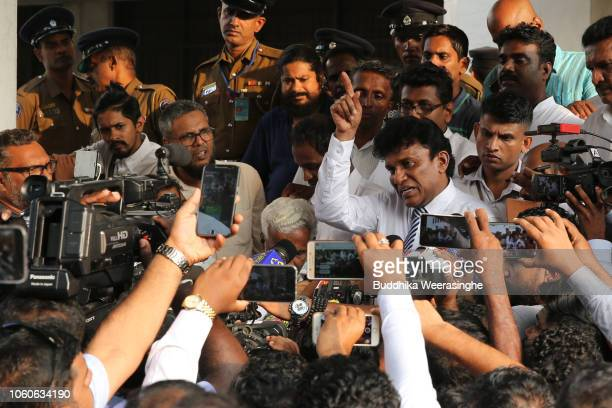 Sri Lankan ethnic Tamil politician of Tamil Progressive Alliance Mano Ganesan speaks to the media after filing a petition against the President...