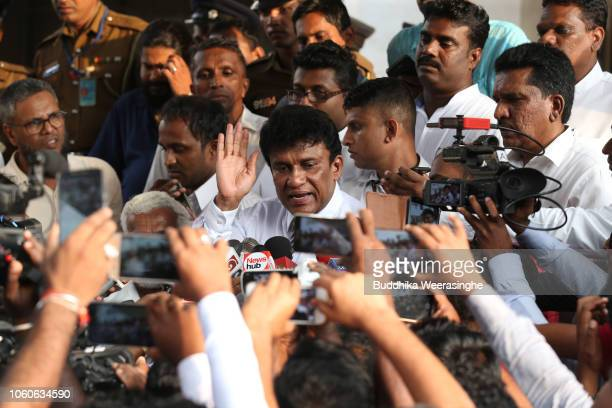 Sri Lankan ethnic Tamil politician of Tamil Progressive Alliance Mano Ganesan speaks to media after filing a petition against the President...