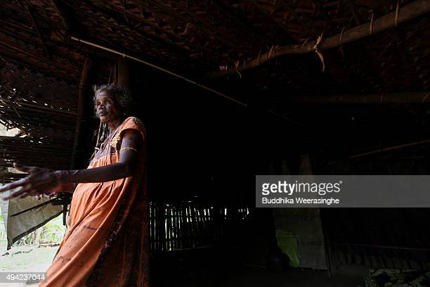 Sri Lankan ethnic Tamil woman named Krishna Lingam Joegeswary 53 years stands at her residence on October 25 2015 in Kilinochchi Sri Lanka Joegeswary...