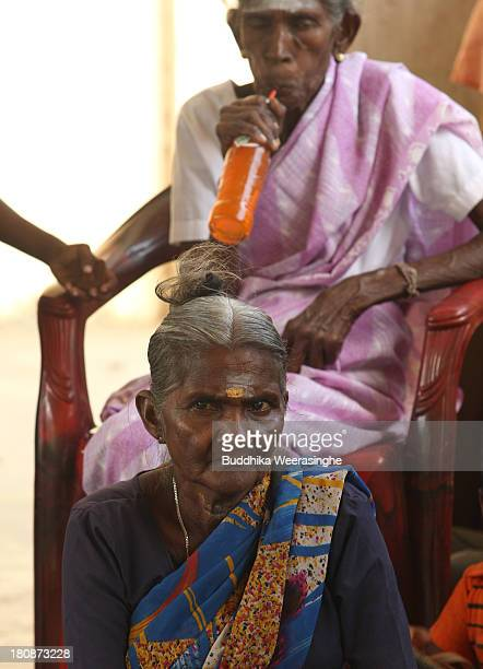 Sri Lankan ethnic Tamil women attend the voter education programme which is held by CAFE election monitoring group at former rebel capital on...