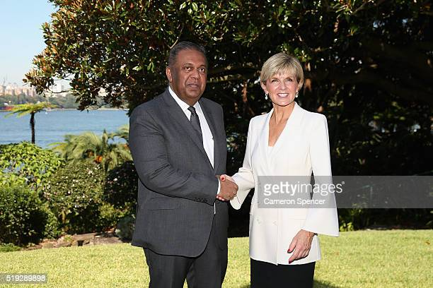 Sri Lankan Foreign Minister Mangala Samaraweera poses with Australian Foreign Minister Julie Bishop during the launch of the Asian Sports Partnership...