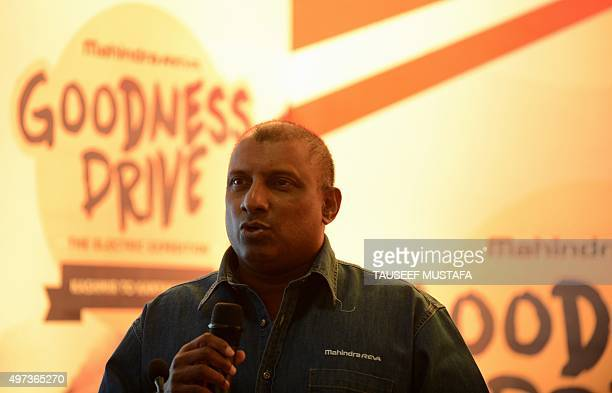 Sri Lankan former cricketer Aravinda De Silva speaks before the flaggingoff ceremony of India's first allelectric car expedition in Srinagar on...