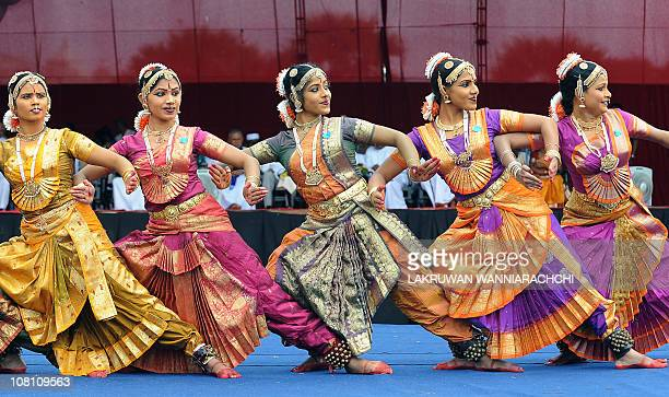Sri Lankan girls perform dances during the religious festival of Thai Pongal held in the northern town of Jaffna on January 17 2011 Sri Lankan...