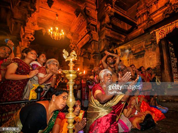 Sri Lankan Hindu devotees perform rituals and prayers on the occasion of the Maha Shivratri festival at a Hindu temple in Colombo Sri Lanka on...