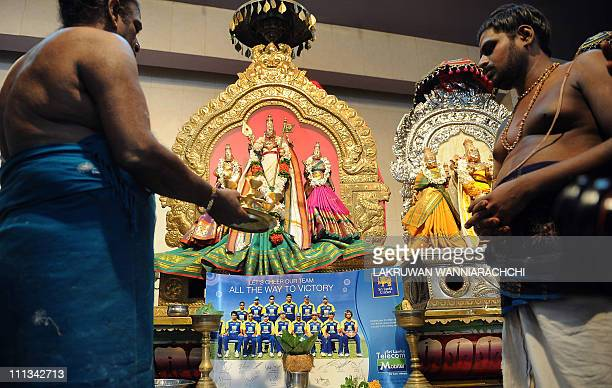 A Sri Lankan Hindu priest performs a special prayer ritual wishing the Sri Lankan cricket team good luck in the final match of the ICC Cricket World...