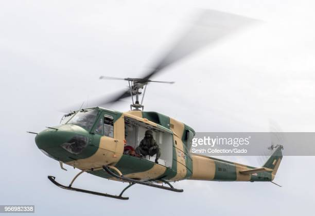 Sri Lankan Huey UH1 helicopter transporting a patient to a hospital May 6 2018 Image courtesy Petty Officer 2nd Class Kelsey Adams / Commander...