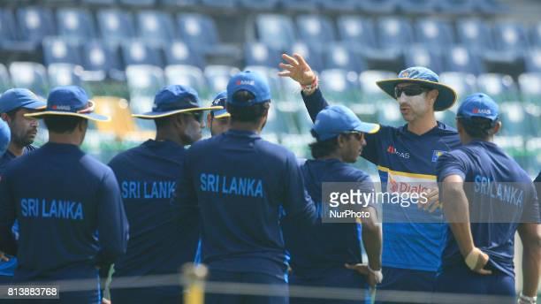 Sri Lankan interim head coach Nic Pothas instructs the Sri Lankan cricket players ahead of the Test match against the visiting Zimbabwe cricket team...
