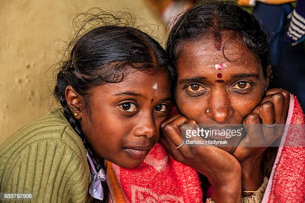 Sri Lankan little girl with her mother, Nuwara Eliya, Ceylon