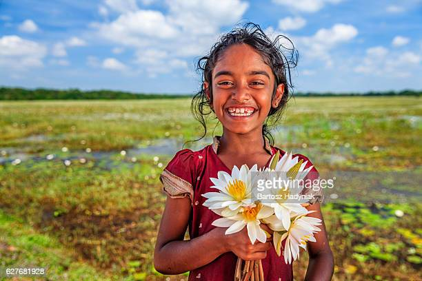 sri lankan little girl with lotus flowers - sigiriya stock photos and pictures