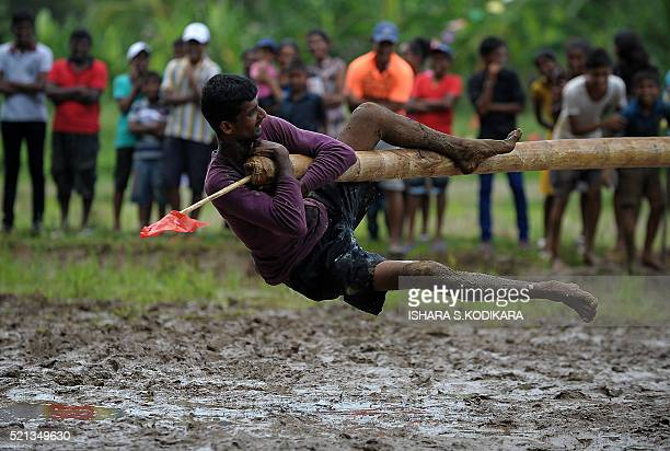 A Sri Lankan man plays a traditional game in a muddy field during Sinhala and Tamil New Year celebrations in Kirindiwela on April 15 2016 The new...