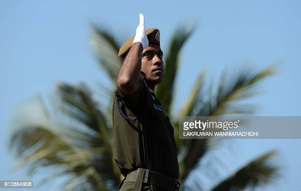 Sri Lankan military personel take part in an Independence Day parade rehearsal in Colombo on February 1 2018 Sri Lanka is preparing to mark the 70th...