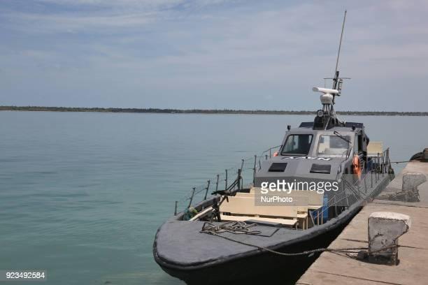 Sri Lankan Navy boat moored at Kurikadduvan Harbour in Northern Sri Lanka