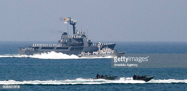 Sri Lankan navy boats take part in the country's 68th Independence day celebrations in Colombo Sri Lanka on February 4 2016 Sri Lanka obtained...