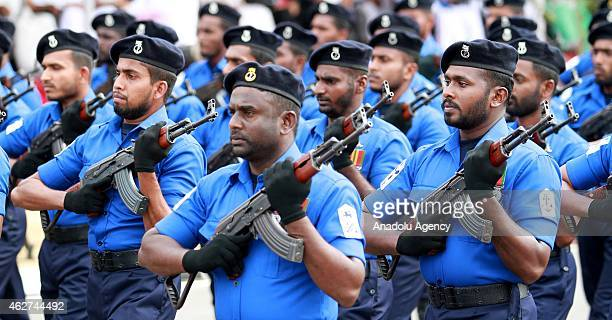 Sri Lankan navy soldiers march during the country's 67th Independence day celebrations in Colombo on February 4 2015 Sri Lanka obtained independence...