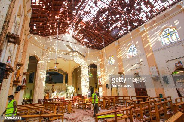 Sri Lankan officials inspect St Sebastian's Church in Negombo north of Colombo after multiple explosions targeting churches and hotels across Sri...