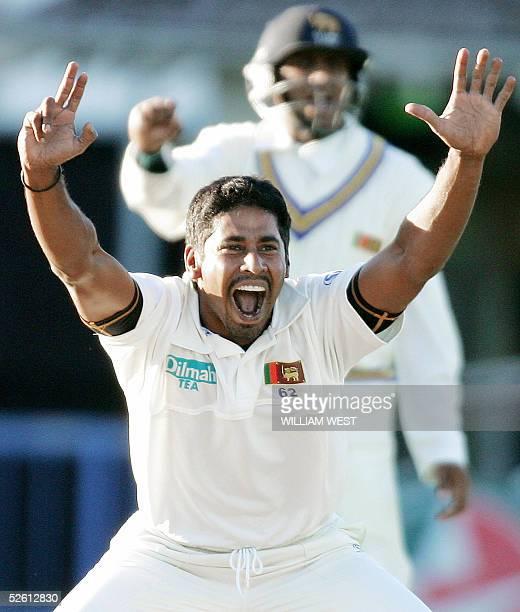 Sri Lankan paceman Chaminda Vaas and fieldsman Tillakaratne Dilshan appeal for an LBW decision against New Zealand batsman Craig Cumming on the first...