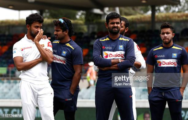 Sri Lankan player look dejected after day four of the Second Test match between Australia and Sri Lanka at Manuka Oval on February 04 2019 in...