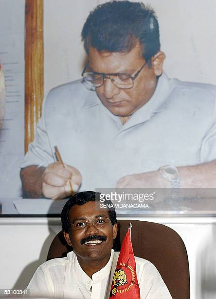 Sri Lankan political wing leader of the rebel Liberation Tigers of Tamil Eelam S P Thamilselvan speaks in an interview with AFP in the rebelheld town...