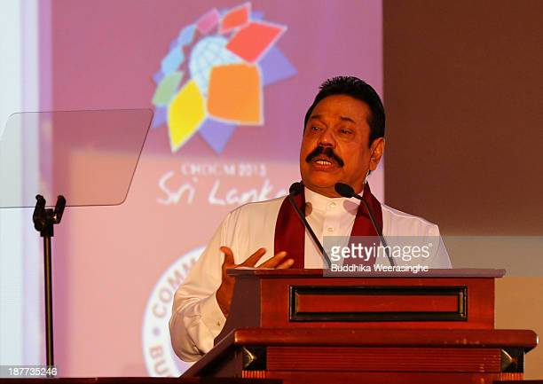 Sri Lankan President Mahinda Rajapaksa address the inaugural session of The Commonwealth Business Forum on November 12, 2013 in Colombo, Sri Lanka....