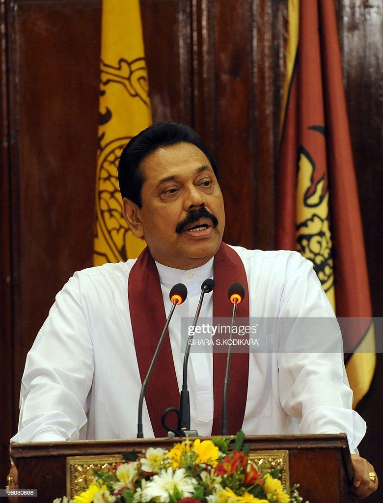 Sri Lankan President Mahinda Rajapakse a : Nieuwsfoto's