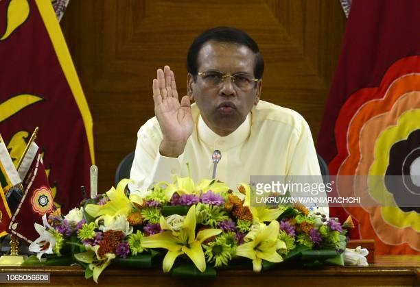 Sri Lankan President Maithripala Sirisena addresses the Foreign Correspondents Association in Colombo on November 25 2018 President Maithripala...