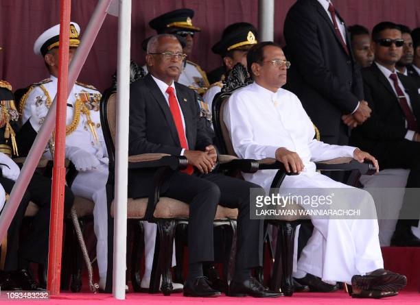 Sri Lankan President Maithripala Sirisena and Maldives President Ibrahim Mohamed Solih attend Sri Lanka's 71st Independence Day celebrations in...