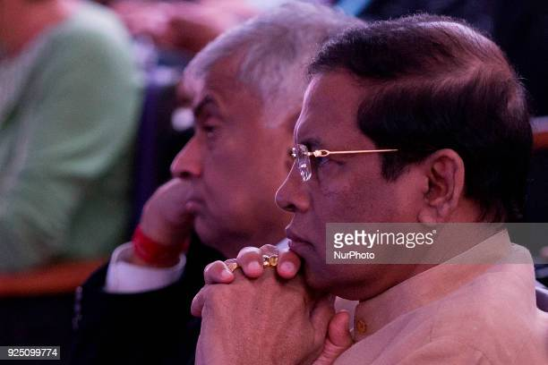 Sri Lankan president Maithripala Sirisena and prime minister Ranil Wickramasinghe look on during official launch of the National policy on...