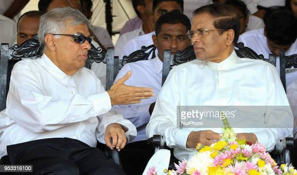 Sri Lankan president Maithripala Sirisena and Prime Minister Ranil Wickremesinghe are seen during the 25th commemoration of the death anniversary of...