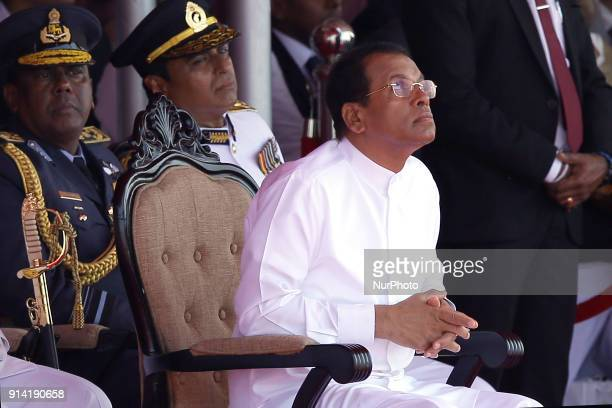 Sri Lankan president Maithripala Sirisena and the Sri Lankan Military commanders watch a parachute display at the the 70 th Independence Day parade...