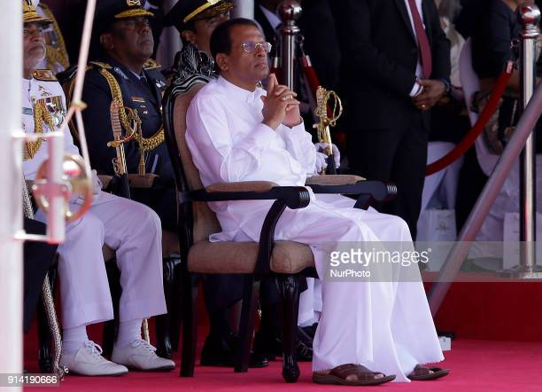Sri Lankan president Maithripala Sirisena and the Sri Lankan Military commanders watch the 70 th Independence Day parade at Galle Face Green Colombo...