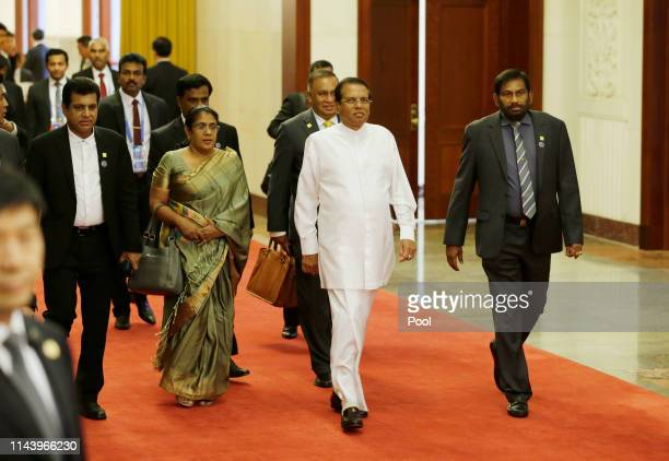 Sri Lankan President Maithripala Sirisena arrives for a meeting with Chinese Premier Li Keqiang at the Great Hall of the People on May 15 2019 in...