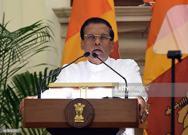 Sri Lankan President Maithripala Sirisena delivers a media statement after a signing agreement ceremony in New Delhi on February 16 2015 Sri Lanka's...