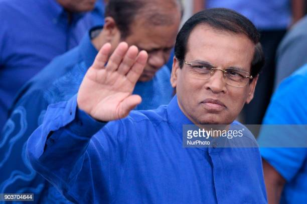 Sri Lankan president Maithripala Sirisena greets his supporters during a rally at Anuradhapura Sri Lanka on Wednesday 10 January 2017 President...