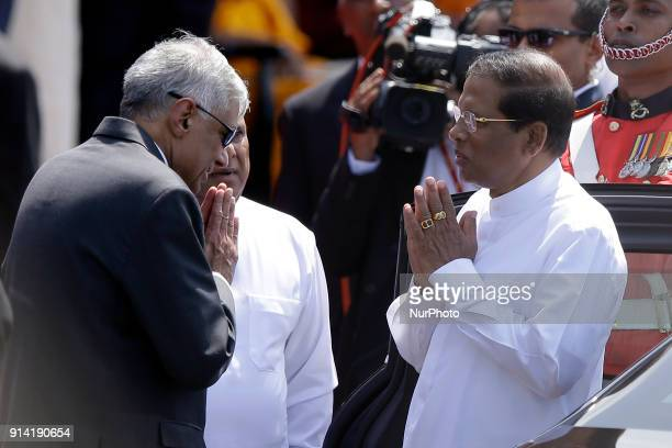 Sri Lankan president Maithripala Sirisena is greeted by the Sri Lankan Prime Minister Ranil Wickramasinghe at the the 70 th Independence Day parade...