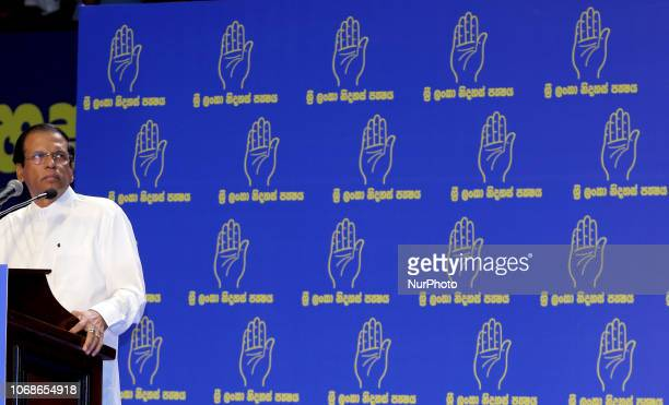 Sri Lankan president Maithripala Sirisena looks on as he speaks at his political party Sri Lanka Freedom Party's annual convention at Colombo Sri...