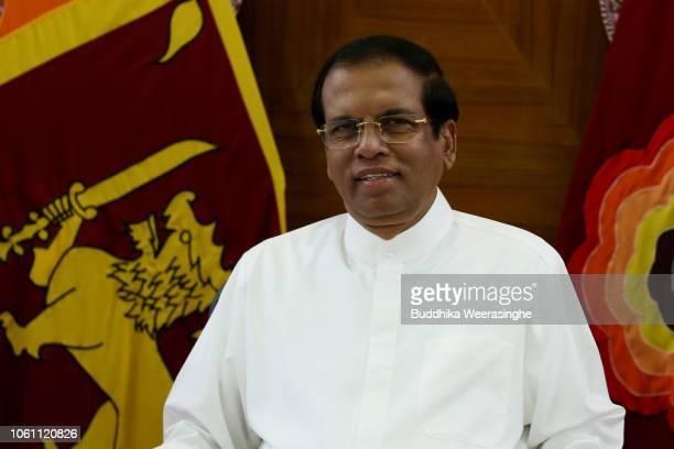 Sri Lankan President Maithripala Sirisena looks on at his official residence on November 13 2018 in Colombo Sri Lanka Security is tight around...