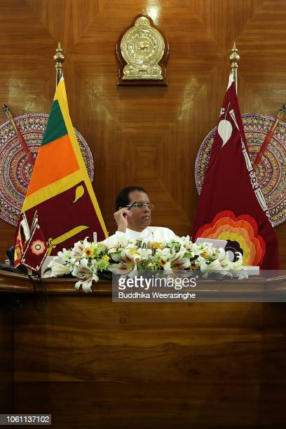 Sri Lankan President Maithripala Sirisena poses for a photo at his official residence on November 13 2018 in Colombo Sri Lanka Security is tight...