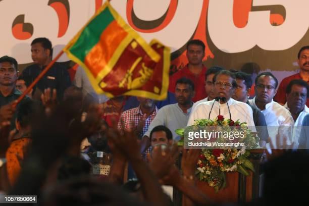 Sri Lankan President Maithripala Sirisena speaks to his supporters during a public rally on November 5 2018 in Sri Jayewardenapura Sri Lanka Sri...