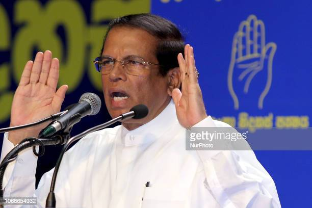Sri Lankan president Maithripala Sirisena speaks to his supporters at his political party Sri Lanka Freedom Party's annual convention at Colombo Sri...