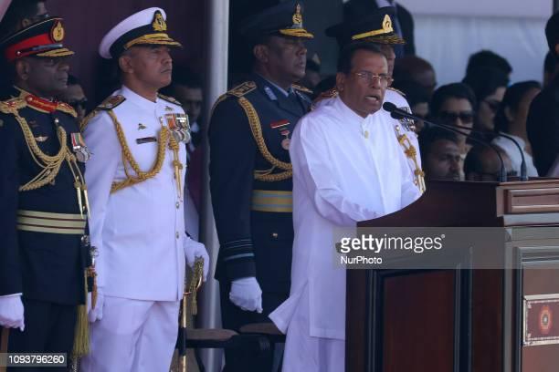 Sri Lankan President Maithripala Sirisena speaks to the nation during the 71st Independence Day commemoration event at Colombo Sri Lanka 04 February...
