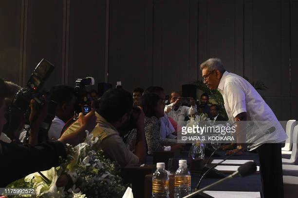 Sri Lankan presidential candidate Gotabhaya Rajapaksa speaks to the media after a press conference in Colombo on October 15 2019 Sri Lanka's front...