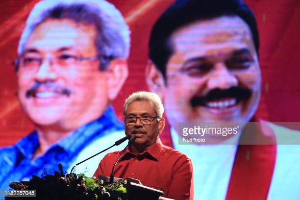 Sri Lankan presidential candidate of Sri Lanka Podujana Peramuna Gotabaya Rajapaksa delivers a speech during the final rally in Homagama outskirts of...