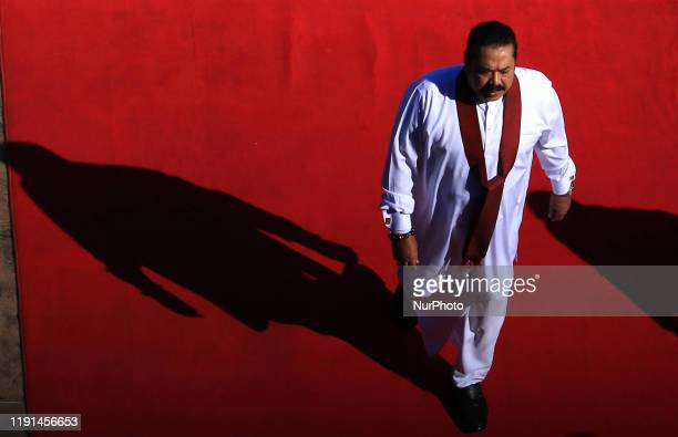 Sri Lankan prime minister Mahinda Rajapaksa arrives at the ceremonial inauguration of the fourth session of the Eighth Parliament in Colombo, Sri...