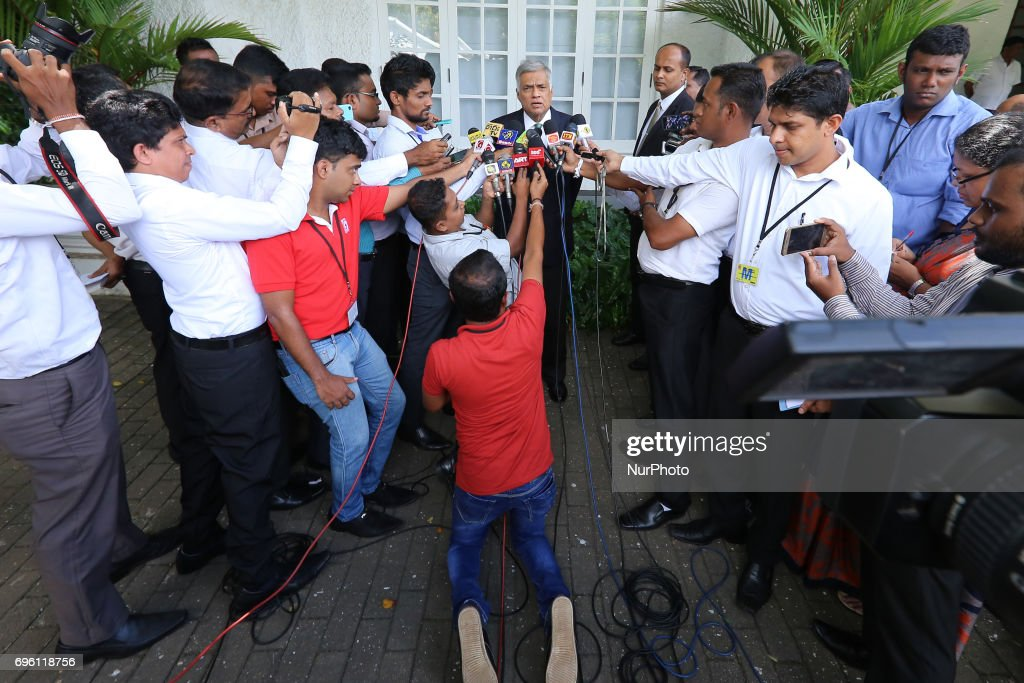 Sri Lankan Prime Minister Ranil Wickramasinghe(M) addresses a media conference attended by Sri Lankan journalists at prime minister's house, Temple Trees, Colombo, Sri Lanka on Wednesday, June 14 2017. Prime minister Wickramasinghe stated that his government is implementing the law in order to curb the religious hatred spreading within Sri Lanka.