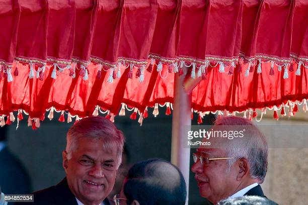 Sri Lankan Prime Minister Ranil Wickramasinghe and Malaysian Prime Minister Najib Razak are seen in a discussion after their meeting in Colombo Sri...