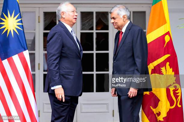 Sri Lankan Prime Minister Ranil Wickramasinghe meets his Malaysian counterpart Malaysian Prime Minister Najib Razak at Prime Minister's Office...