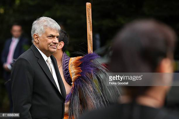 Sri Lankan Prime Minister Ranil Wickremesinghe attends a Ceremony of Welcome at Government House on October 1, 2016 in Auckland, New Zealand.