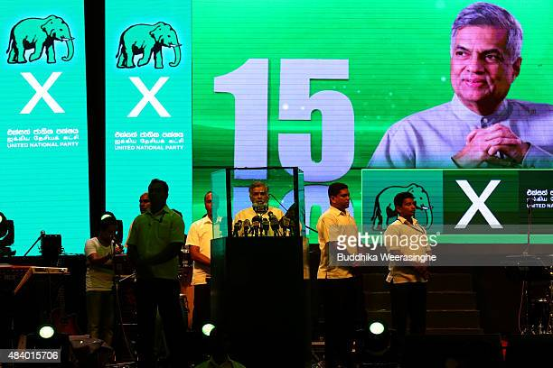 Sri Lankan Prime Minister Ranil Wickremesinghe of the United National Party delivers a speech to voters during his party's political campaign rally...